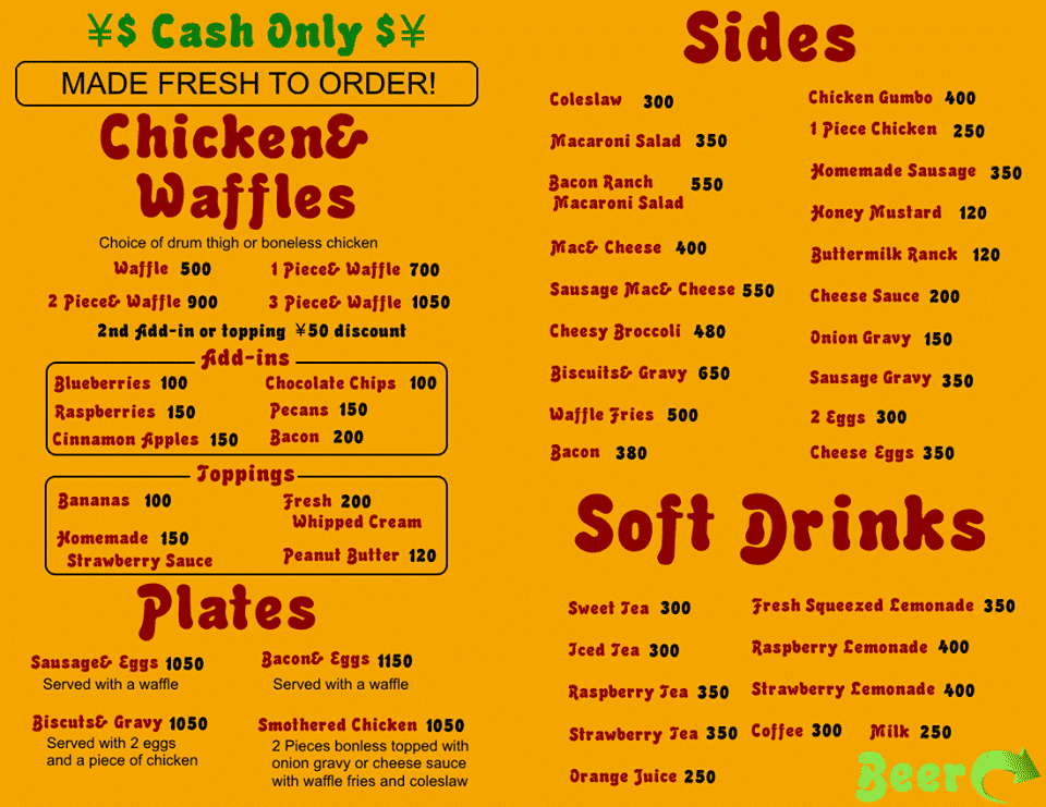 CC's Chicken & Waffles Menu