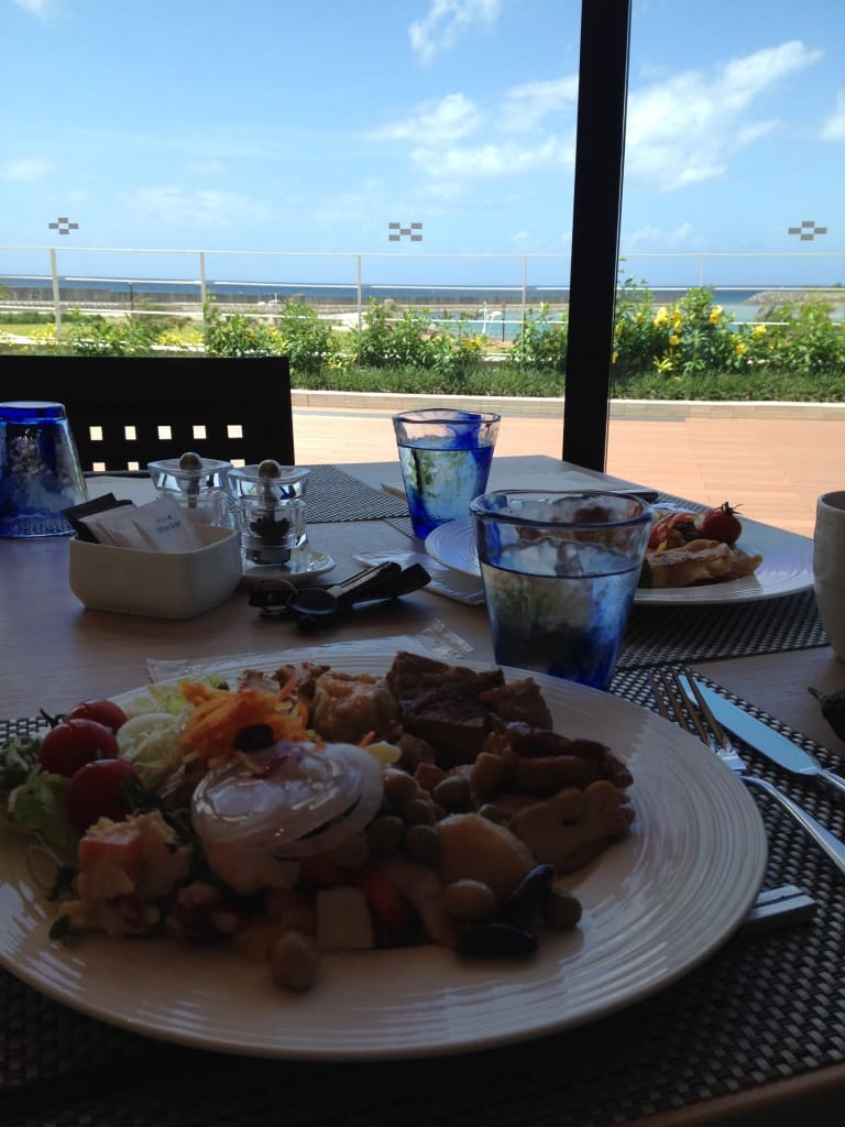View from Dining Table to Sea from Shinka Buffet at Hilton Chatan