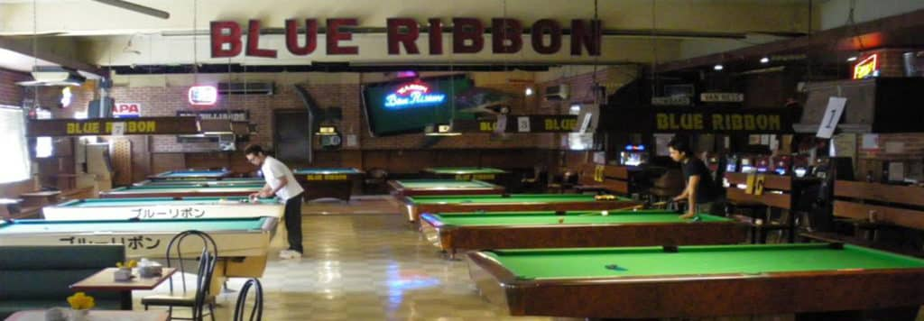 Interior of Blue Ribbon Billiards Hall