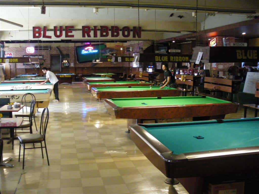 Blue Ribbon Sign and Billiard Tables at Blue Ribbon