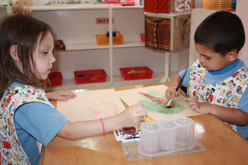 Art lesson at Rainbow Montessori Education Center