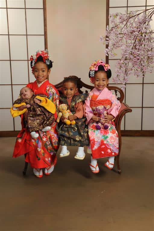 Three girls in Japanese dress at White River Photo Studio