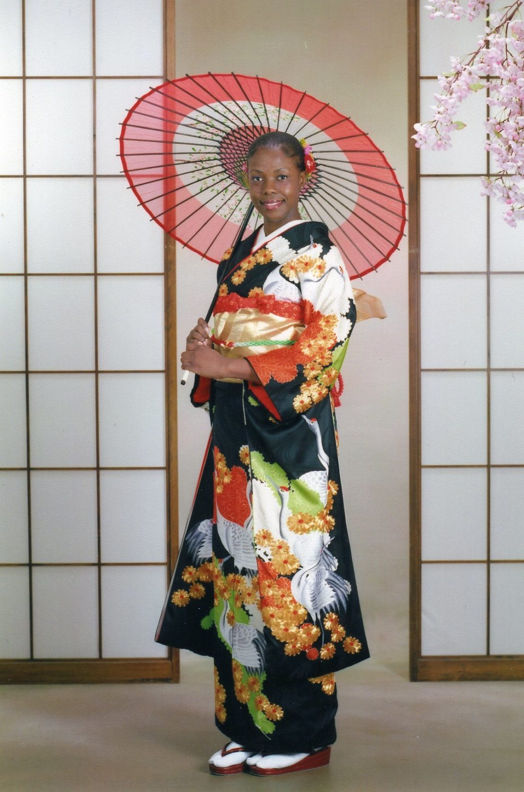 Western woman in Kimono at White River Photo Studio