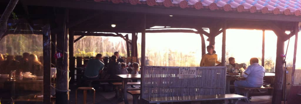 Outdoor seating at Pizza in the Sky