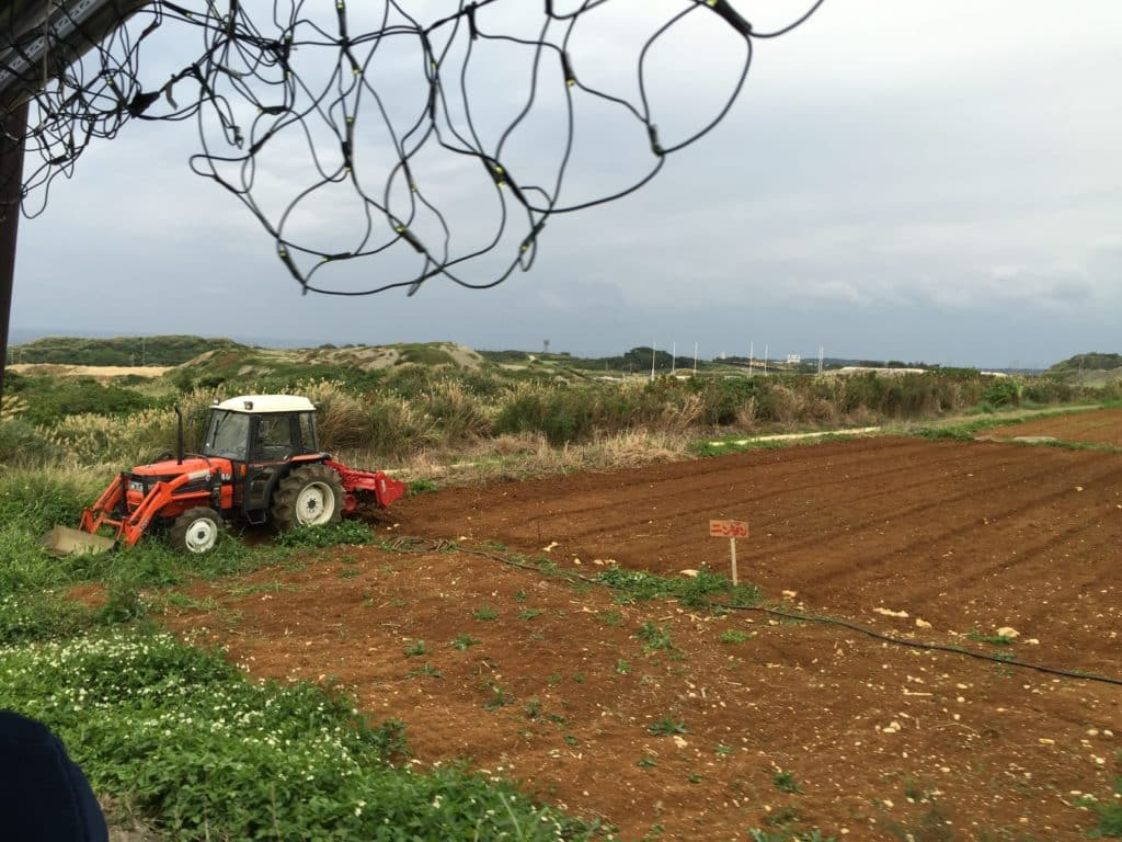 Tractor in field at Itoman Tourist Farm