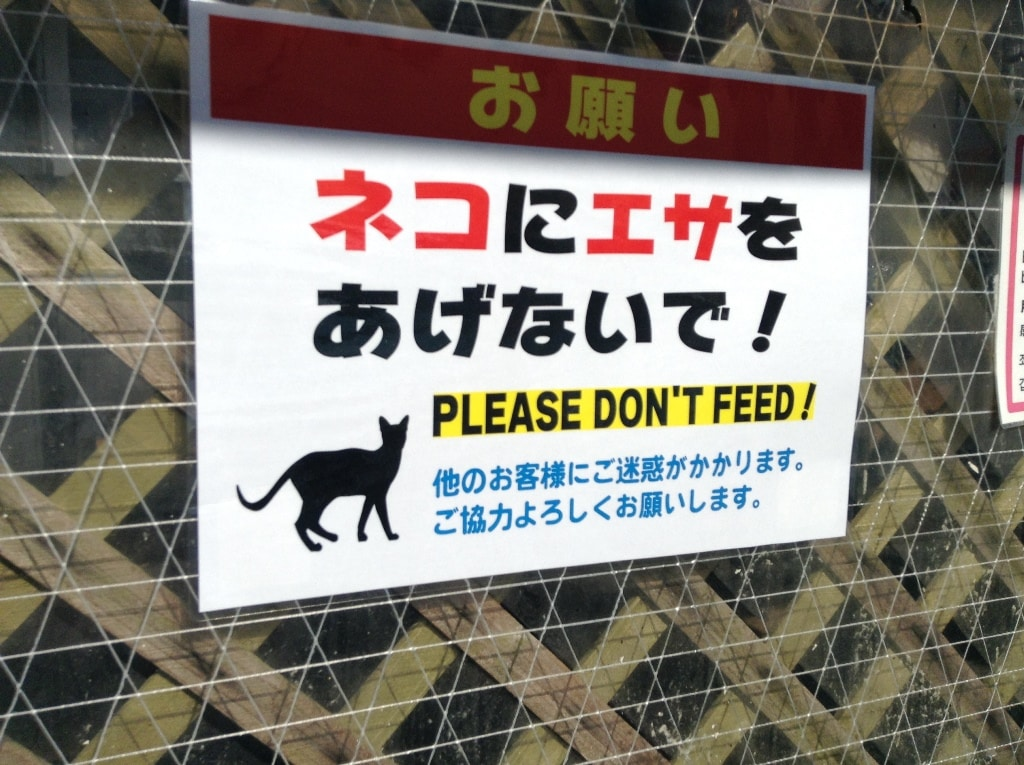 Uminchu Don't Feed the Cats Sign