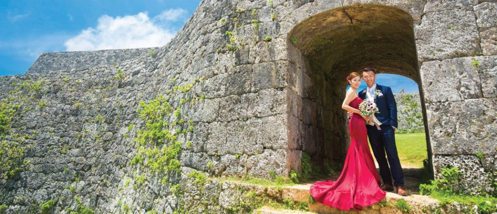 Couple in Wedding dress at Zakimi Castle