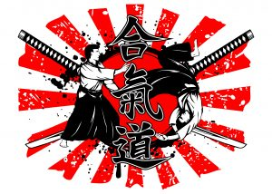 Vector illustration crossed samurai swords hieroglyph aikido and aikidokas carry out a throw