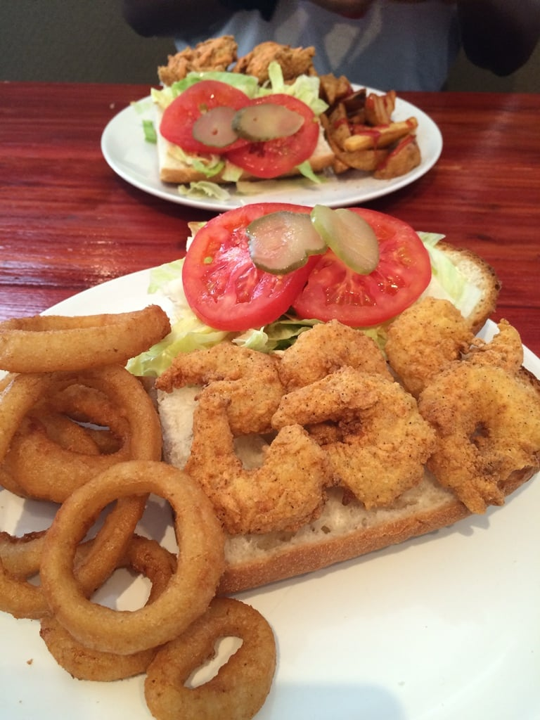 Shrimp Po'boy and Onion Rings