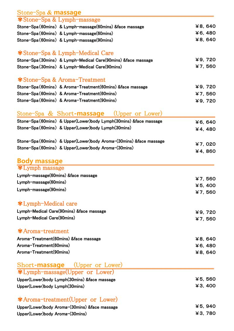 ThaiMed Stone Spa & Body Massage Menu