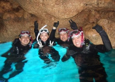 Group of Scuba Divers at Blue Cave