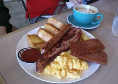 Bacon, Sausage, Ham, Toast and Scrambled Egg