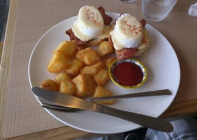 Eggs Benedict with Bacon and Potatoes